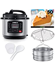 GoWISE USA 10-QT 12-in-1 Electric High-Pressure Cooker, Canner with Measuring Cup, Stainless Steel Rack and 2 Steam Baskets, and Spoon (Stainless Steel)