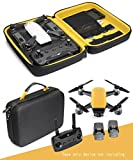 Upgraded Protective Case for Sunrise Yellow DJI Spark Mini Drone, Remote Controller Slot, Smart panel with pockets for USB, Cable, Micro SD Cards and propellers and charger base (Black+Sunrise Yellow)