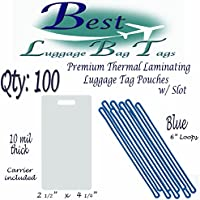 10 mil Premium Luggage Tag with Slot Laminating Pouches 2 1/2 x 4 1/4 & 6 Loops Straps Worms -- Qty: 100 (Blue)