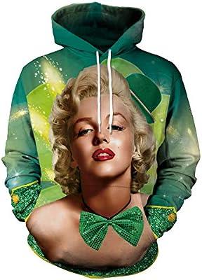 Felpa con cappuccio Stampa 3D Inverno caldo vacanza Hip-hop punk poliestere moda di strada Dream Marilyn Monroe verde Pullover coppia cuciture maglione con cappuccio da uomo donna personalit/à design u