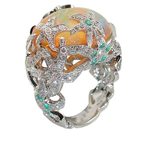 Orange Blue Fire Opal Ring Opel Ring Starfish Flower Personality Wild Crystal Wedding Rings Woman Ocean Party Luxury Jewelry Rings Woman Size 6-10(Silver ,7)