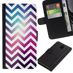 For Samsung Galaxy Note 3 III Case , White Universe Purple Pink - la tarjeta de Crédito Slots PU Funda de cuero Monedero caso cubierta de piel