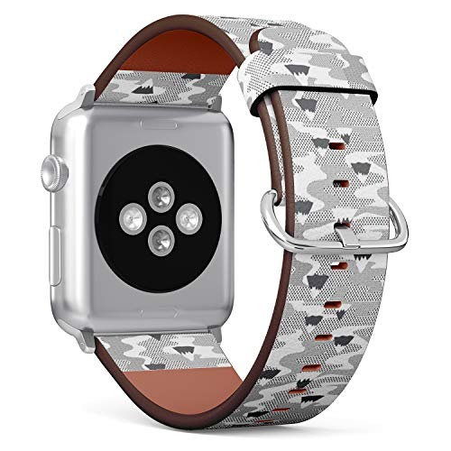 (Compatible with Apple Watch (Big Version) 42 / 44mm Leather Wristband Bracelet with Stainless Steel Clasp and Adapters -Winter Wonderland Geometric Mountain)