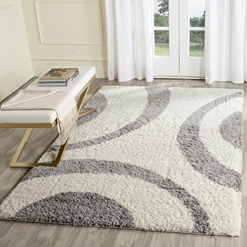Safavieh Portofino Shag Collection PTS213A Ivory and Grey Area Rug (8' x 10')