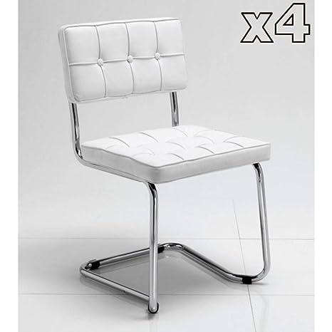 Tomasucci Boemia set di 4 sedie in eco pelle bianca: Amazon.it: Casa ...