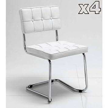 Tomasucci Boemia set di 4 sedie in eco pelle bianca: Amazon.it ...