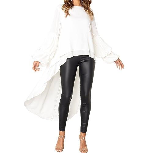 cb2b7fe3dee Kshion Fashion Women s Sexy Ruffled Long Sleeve Irregular Long Sleeve  Blouse Sweatshirt Pullover