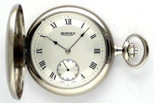 Bernex Swiss Made Rhodium Plated Pocket Watch with 17 Jewel Mechanical Movement