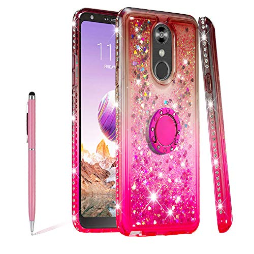 SKYXD Glitter Case for LG Stylo 4/ LG Q Stylus, Diamond Quicksand Floating Gradient Rotation Ring Stand Sparkle Liquid Clear Soft Transparent Heavy Duty Bumper Shockproof Protective Case,Gray Pink