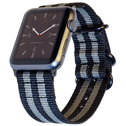 Carterjett Compatible Apple Watch Nylon Band 42mm and New 44mm iWatch Band Replacement Strap NATO Woven Canvas Stripe Compatible Apple Watch Sport Nike Series 4 3 2 1, 42/ 44mm S/M/L Space Gray/Black