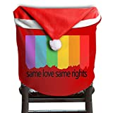 4 Pcs Funny Flamingo Christmas Chair Back Cover Red Hat Chair Back Covers Santa Hat