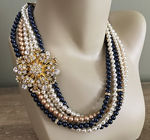 Navy Blue and Gold Necklace with Brooch twisted torsade 6 strands Swarovski pearls in Night Blue,Vintage Gold,Cream Ivory Mother of the Bride wedding jewelry by Alexi Blackwell Bridal -