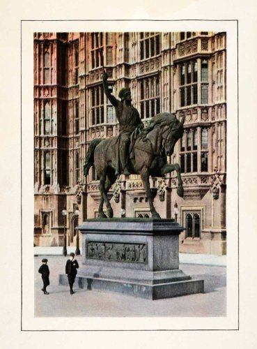 [1910 Print Richard Coeur de Lion London House Parliament Costume Fashion Statue - Original Color] (1910 Costumes)