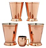 Copper Moscow Mule Mint Julip Copper Mug - Set of 4 - 18 oz - FREE SHOT MUG -100% copper - Best Deal