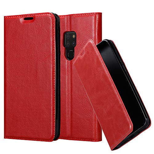 Cadorabo Book Case Works with Huawei Mate 20 in Apple RED - with Magnetic Closure, Stand Function and Card Slot - Wallet Etui Cover Pouch PU Leather Flip ()