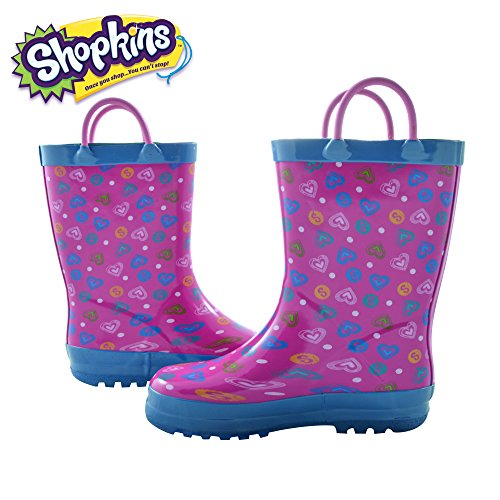 Shopkins Girls Cold Weather Rainboots with Rear Pull Tabs Blue Size 11
