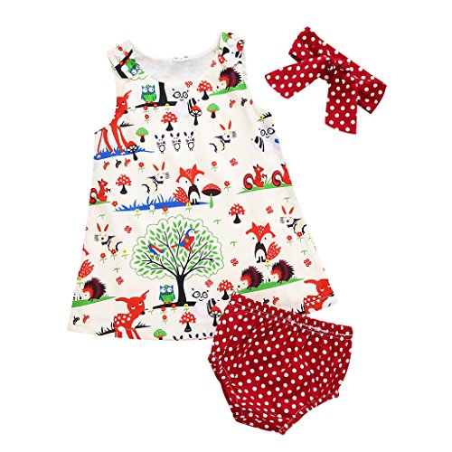 MIOIM 3pcs Toddler Infant Baby Girl Summer Clothes Set Animals Flowers Dress Polka Dot Briefs Macthing Headband Outfits (3-6M) - Girls Polka Dot Clothing