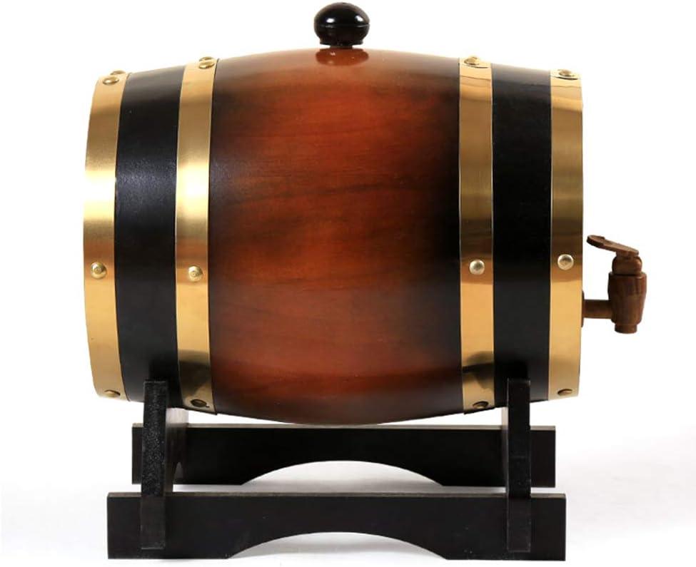 ZXPYZ Roble Barril De Vino - Cerveza, Whisky, Ron Puerto De Barriles De Roble del Vino De Madera Viejos, Roble - Dark Brown 3L