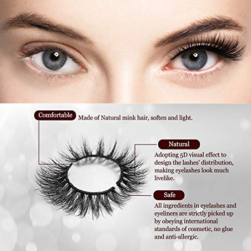 Magnetic Eyelashes with Eyeliner, No-Glue Natural Lashes Kit with Tweezers, 10-Pairs Reusable and Natural Falling Mink…