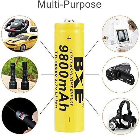3.7V Button Top for Led Flashlight Headlamp with 4-Slot charger 4Pcs 18650 lithium 9900mah Rechargeable Batteries 4-pack