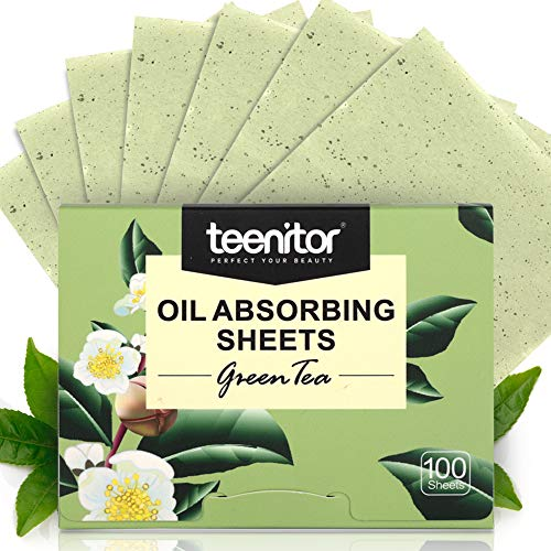 Teenitor Oil Blotting Sheets, 100 Sheets Green Tea Oil Absorbing Tissues Paper, Large 10cmx7cm Oil Blotters