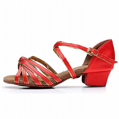 BYLE Sandalias de Cuero Tobillo Modern Jazz Samba Zapatos de Baile Zapatos de Raso Estilo Clásico América Danza Zapatos Oro Rojo Onecolor
