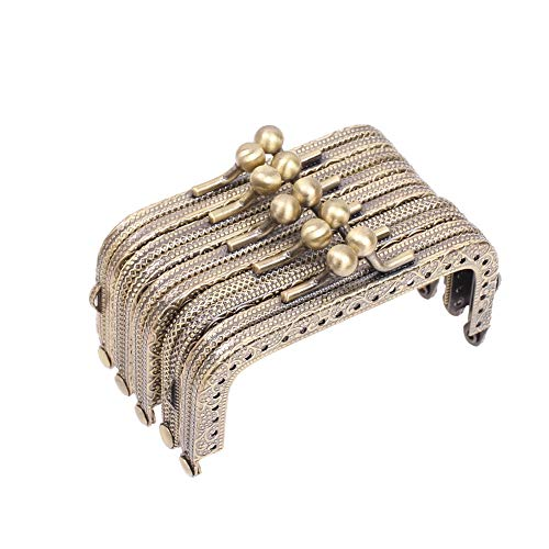 Craft Beaded Coin Purse - Metal Frame Purse Frame Kiss Clasp Lock Squared Design Bag Clutch Frame DIY Craft 5PCS 8.5X4.5CM