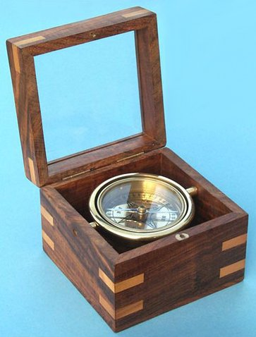 Small Gimbaled Boxed Brass Nautical Compass w/ Beveled Glass Top