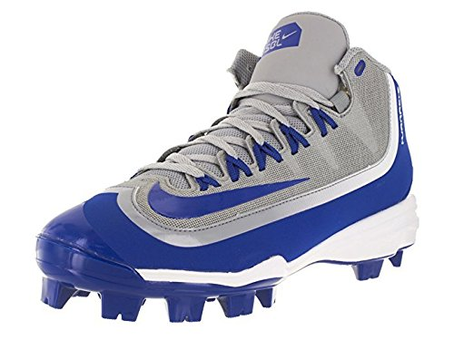 NIKE Men's Huarache 2KFilth Pro Mid MCS Wolf Grey/Game Royal/White Baseball Cleat 11 Men US