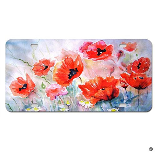 MsMr Funny License Plate Cover with 4 Holes Flower Designed Decorative Metal Car License Plate Auto Tag