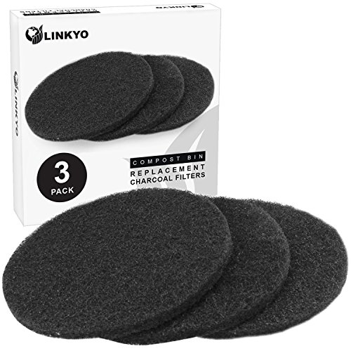 (LINKYO Activated Carbon Compost Bin Filter Refill Pack - Set of 3 Odor Absorbing Charcoal Filters (7.25