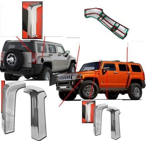 Moulding Pillar - Hummer H3 H-3 H 3 Exterior ABS Moulding Chrome Upper Rear Pillar Pillars Cover Covers Trim Set 2006 2007 2008 2009 2010