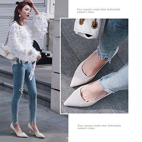 Matorrales De Fregado Zapatos Boca Trabajo De Alto 7 5cm De Apuntado Ocio Poco Mujer Blanco Profunda Sunny Zapatos Zapatos De Tacón 0qIzIw