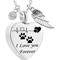 misyou Charms Urn Necklace for Ashes Dog Paw Prints Heart Necklace Stainless Steel Birthstone…