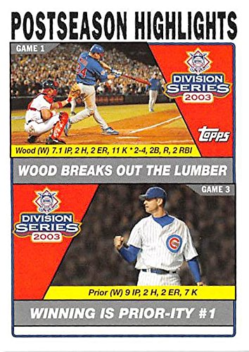 (Kerry Wood and Mark Prior baseball card (Chicago Cubs P) 2004 Topps #350 2003 National League Division Series Highlights)