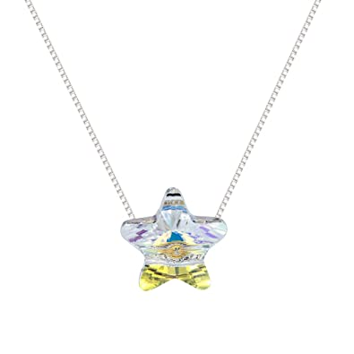 Amazon 925 sterling silver colorful five pointed star austria 925 sterling silver colorful five pointed star austria crystal trendy starfish pendants necklace aloadofball Image collections