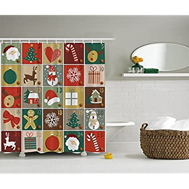 Ambesonne Christmas Home Decor Collection, Holiday Season Patterns with Santa Rudolf the Reindeer Gingerbread Man Candy Cane Snowflakes Snowman Ribbon Gifts Xmas Tree Decorations Themed Picture, Multi