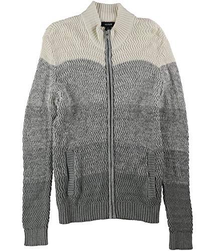 Alfani Men's White & Grey Ombre Rib-Knit Full Zip Sweater L BHFO 6071 from Alfani