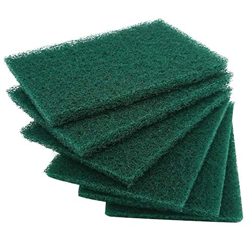 Hulless 12 per Pack Scrub Sponge Scouring Pads, Household Cleaning Utensil Scrubber, Pot Brush scrubbers Kitchen Cooking Utensil Cleaning Tools, Non-Scratch Anti-Grease Technology, Reusable, Green.