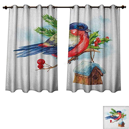 PriceTextile Rowan Blackout Thermal Backed Curtains for Living Room Merry Christmas Composition with Cute Bullfinch Holly Pine Cone Bird House in Winter Customized Curtains Multicolor Size W63 ()