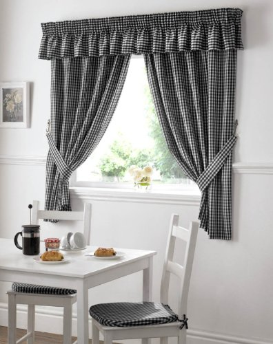 GINGHAM CHECK BLACK WHITE KITCHEN CURTAINS DRAPES W46 X L48 TIEBACKS INCLUDED
