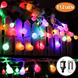 MIBOTE Globe String Lights, 55ft 112 LEDs Colored Fairy Lights Waterproof UL Listed Plug in String Lights for Outdoor Indoor Bedroom Patio Garden Party Wedding Patio Christmas Xmas Tree Decoration