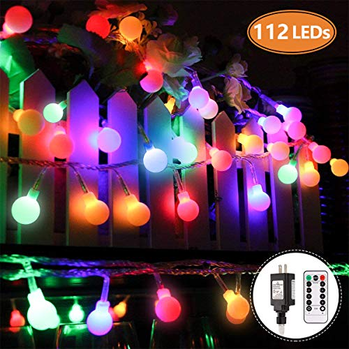 MIBOTE Globe String Lights, 55ft 112 LEDs Colored Fairy Lights Waterproof UL Listed Plug in String Lights for Outdoor Indoor Bedroom Patio Garden Party Wedding Patio Christmas Xmas Tree Decoration -