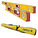 Stabila 37524 Heavy Duty 59''/24'' Type 196 Construction Level Set w/ 6-Pocket Jamber Case