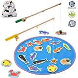 TEPSMIGO Magnetic Wooden Fishing Game Kids, Educational Go Fish Gaming Gift Toy Catch Count 20 Ocean Animals 2 Rods Toddler Age 3 4 5 6 7 8 Year Old Children