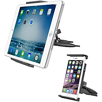 """APPS2Car Universal Tablet CD Slot Car Mount Phone Holder Stand for iPad 2017 10.5""""/Air 1 2/Mini 1 2 3 4/9.7"""" Pro, Samsung Galaxy Tab E A S S2 S3, Google Nexus Pixel Android Tablet, iPhone X 8 7 plus"""