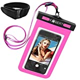 Kobert Waterproof Cell Phone Case (Pro Pink), Dry Bag Pouch for iPhone 8, 8 Plus, X, 6s, 6s Plus Samsung Galaxy s7, s7 Edge, s6, Any Phone up to 6 Inches - Pink Strap and Armband