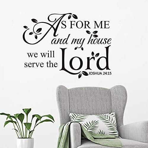 FlyWallD Bible Quotes Wall Decal Joshua Saying Home Lettering Vinyl Art Religion Quotes Sticker As for Me and My House We Will Serve The Lord