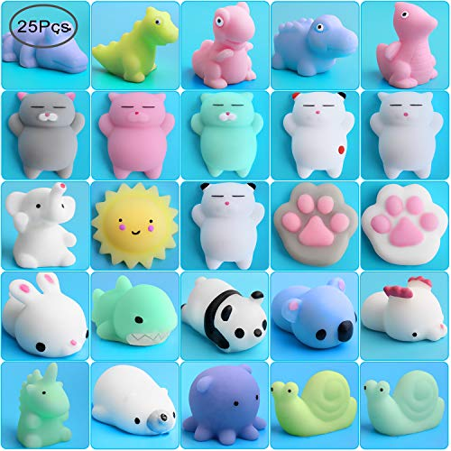 Outee Mochi Squishy Cat Toy, 25 Pcs Xmas Gift Relief Stress Squishy Random Squishy Stress Relief Animals Mochi Squishy Toys Mini Squishy Animals Stress Toys Cat Mini Stress Squishies Mini Stress Toys