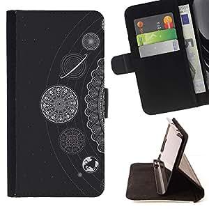 Momo Phone Case / Flip Funda de Cuero Case Cover - Estrellas blancos Planetas Sistema Solar - HTC DESIRE 816